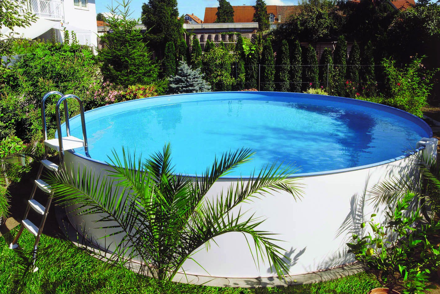 stahlwandpool frei aufstellbar und bodeneinbau 1 20 m tief aufstellpool sunny pool komplett. Black Bedroom Furniture Sets. Home Design Ideas